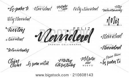 Spanish lettering Feliz Navidad, Felices Navidades, Mis felicitaciones. Merry Christmas and Happy New Year, black text calligraphy
