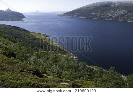 Blue fjord view, journey in Nord Norway