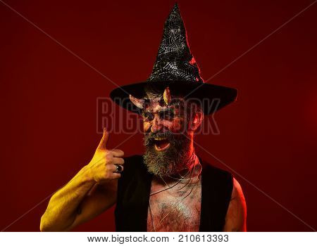 Halloween Man With Demon Horns Witch Hat Show Thumbs Up