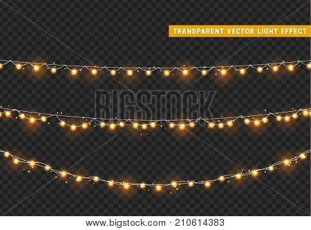 Christmas lights isolated realistic design elements. Xmas glowing lights. Garlands Christmas decorations.
