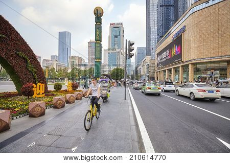 Chengdu, China - September 29, 2017: Busy Street In Downtown Chengdu, One Of The Three Most Populous