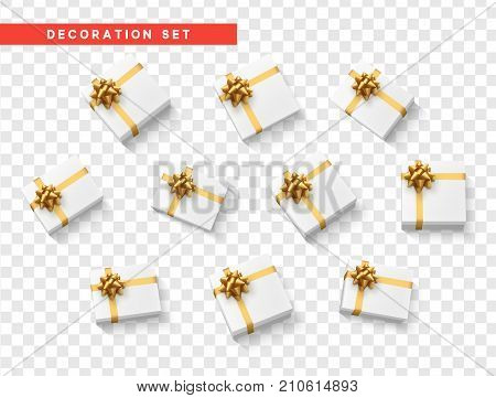 Set gift box white, with gold ribbon and bow. Realistic isolated different gift boxes. Flat lay, top view