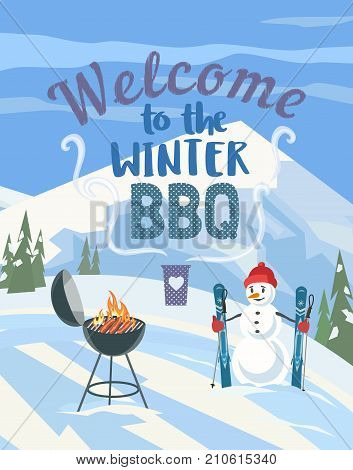 Winter outdoors concept. Cartoon retro style poster. Welcome invitation to barbecue picnic. Season holiday leisure banner background. Mountain ski resort valley. Flaming BBQ grill. Vector illustration