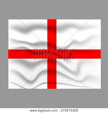 England flag. Waving colorful England flag. Grey background