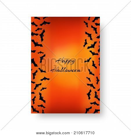 Scary background of brochure with bats for festive decoration for Halloween on the orange backdrop. Vector illustration.