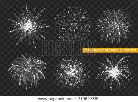 Set of Firework white isolated. Xmas decoration. Holiday design element. Bright realistic firework with transparent background effect.