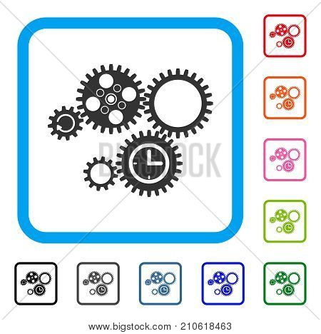 Gear Mechanism icon. Flat gray pictogram symbol in a light blue rounded rectangle. Black, gray, green, blue, red, orange color additional versions of Gear Mechanism vector.