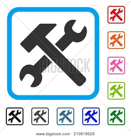 Hammer And Wrench icon. Flat gray iconic symbol in a light blue rounded squared frame. Black, gray, green, blue, red, orange color versions of Hammer And Wrench vector.