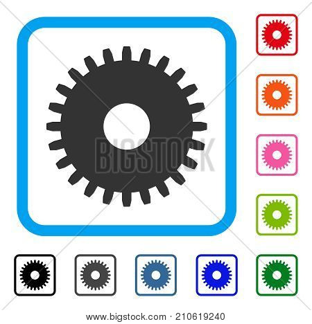 Cogwheel icon. Flat gray iconic symbol in a light blue rounded squared frame. Black, gray, green, blue, red, orange color additional versions of Cogwheel vector. Designed for web and software UI.