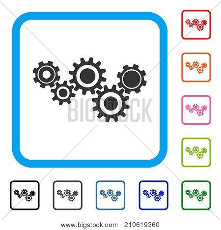 Gear Mechanism icon. Flat grey pictogram symbol in a light blue rounded frame. Black, gray, green, blue, red, orange color additional versions of Gear Mechanism vector. Designed for web and app UI.