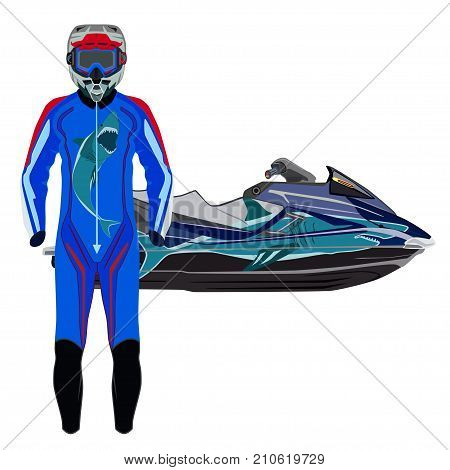 Vector illustration of jet ski, jet skier suit and protective gear isolated on white background.