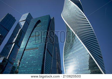 MOSCOW - AUGUST 10, 2017: Low angle view of Moscow-City skyscrapers. Moscow International Business Center is a modern commercial district in central Moscow.