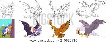 Cartoon animal set. Collection of predator birds. Vulture halloween bat hawk eagle condor falcon. Coloring book pages for kids.