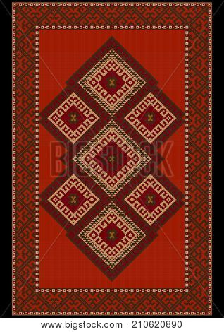 Vintage luxurious ethnic red rug with red and brown shades