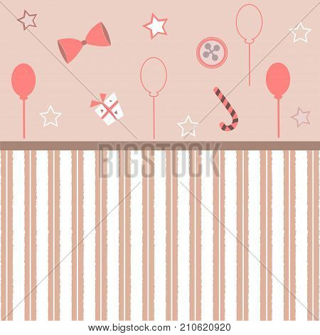 Cute Girlish Frame in pink with festive balloons bow gift candy and stars. Vector Illustration