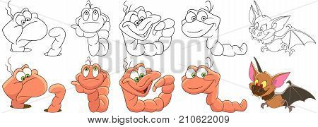 Cartoon animal set. Collection of garden pests. Worms earthworms with different emotions. Halloween bat flying. Coloring book pages for kids.