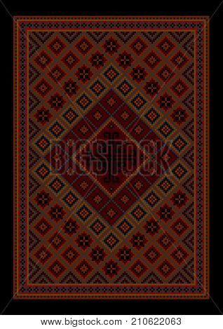 Luxurious vintage oriental carpet with colored ornament inmaroonand red shades on black background