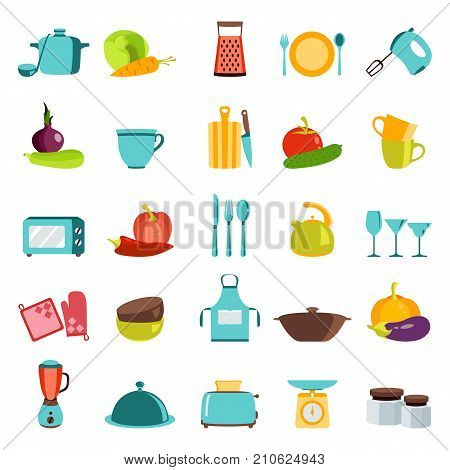 Vector color illustration of kitchen utensils, household appliances and food
