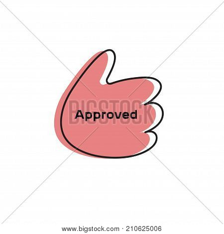 Thumbs up. Icon approved. Cartoon thumbs up. Stock vector