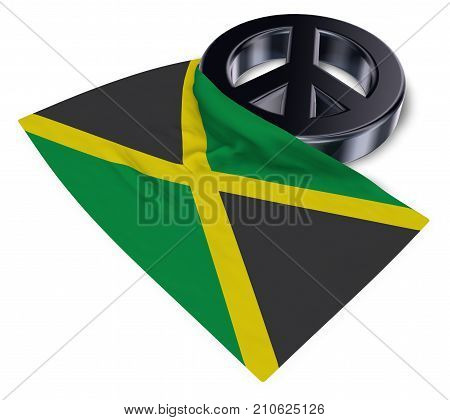 peace symbol and flag of jamaica - 3d rendering