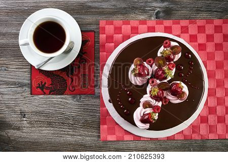 Summer Cake Or Fruit Cake With Mixed Fruits