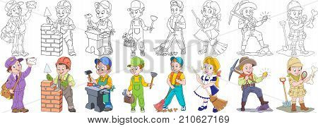 Cartoon working people set. Collection of professions. Mail man (postman) builder blacksmith plumber cleaner sweeper gold miner archaeological explorer. Coloring book pages for kids. poster