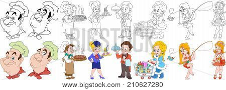 Cartoon working people set. Collection of professions. Chef cook with a pizza stewardess waiter with a tray shopaholic woman girl fishing fashion lady. Coloring book pages for kids.