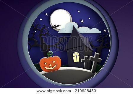 3D illustration of paper scene of halloween