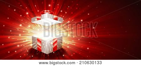 Open gift box with a shining exploding firework of glitters and radial zoom of light rays. Greeting banner for Christmas New Year Birthday. Vector illustration are proportion to 8.5x3.66 flyer size