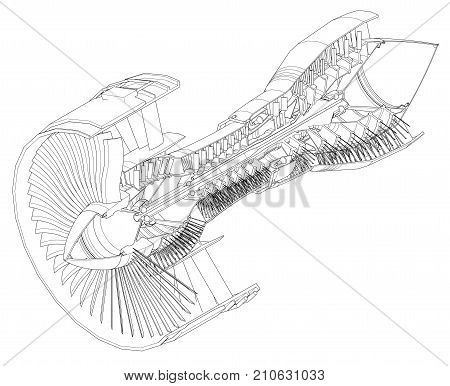 Turbo jet engine aircraft. Vector line illustration