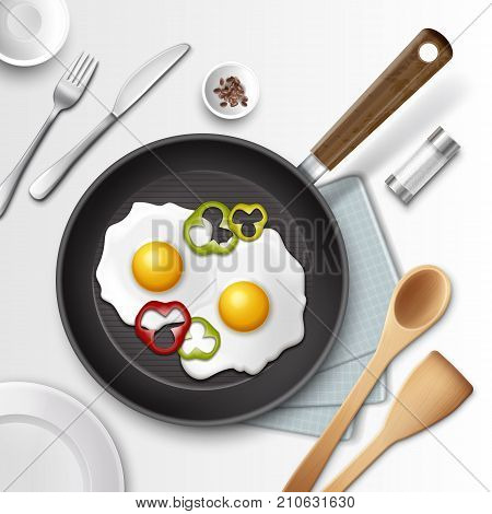 Vector illustration of fried eggs in a frying pan with bell pepper for breakfast and other utensil, isolated on white background