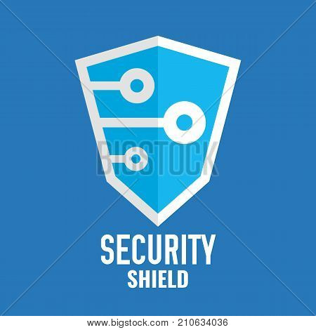 Security shield logo. Technology logotype. Security icon template. Internet protection flat design. Shield on blue background. Vector illustration.