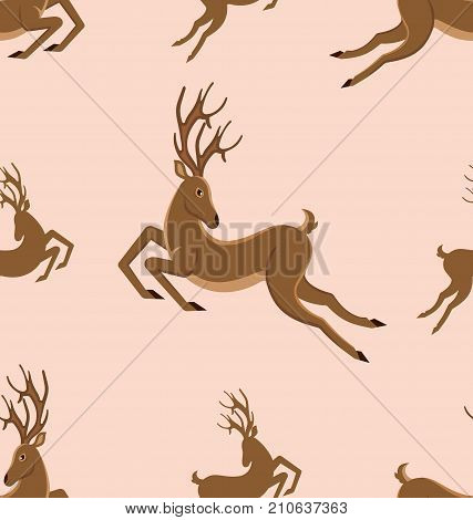 Seamless Pattern with Leaping Deers, Vintage Texture with Running Stags - Illustration Vector