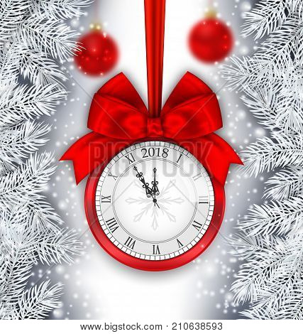 New Year Shimmering Background with Clock and Silver Branches - Illustration Vector