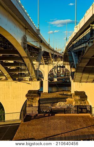 The new Innerbelt Bridge in Cleveland Ohio carrying Interstate 90 across the Cuyahoga seen from below between the spans