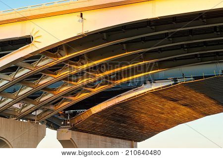 Detailed view of the new Innerbelt Bridge in Cleveland Ohio showing the support arches underneath