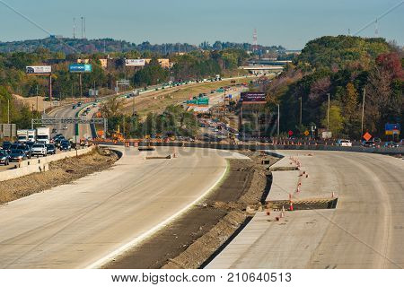 OAKWOOD OH - OCTOBER 21 2017: New concrete lanes form the central feature of the ongoing construction project on Interstate 271 near Cleveland.