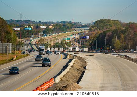 OAKWOOD OH - OCTOBER 21 2017: New lanes and traffic diverted to the other side are part of the ongoing construction project on I-271 near Cleveland.