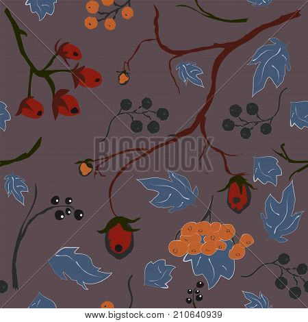 Red berry Christmas Brier Spray Pattern. Hand drawn whimsical traditional style. Colorful artistic design. For backgrounds wallpapers fabric prints textiles wrapping cards swatches etc.