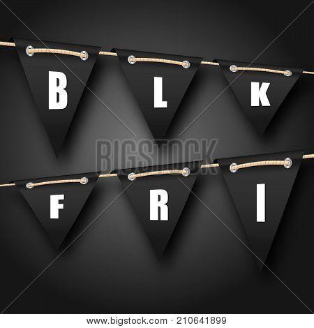 Black Friday Hanging Bunting Pennants, Advertising Background - Illustration Vector