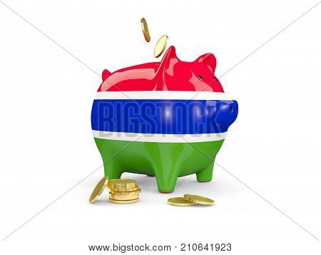 Fat piggy bank with fag of gambia and money isolated on white. 3D illustration poster