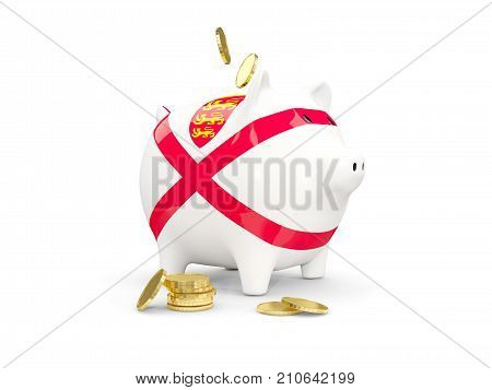 Fat Piggy Bank With Fag Of Jersey