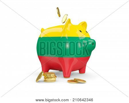 Fat Piggy Bank With Fag Of Lithuania