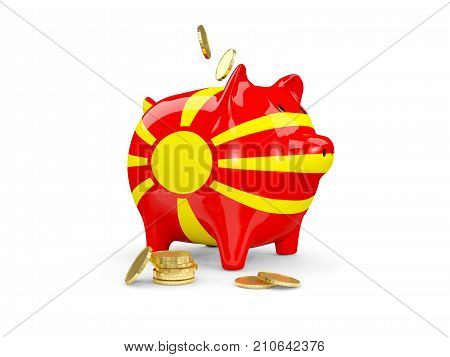 Fat Piggy Bank With Fag Of Macedonia