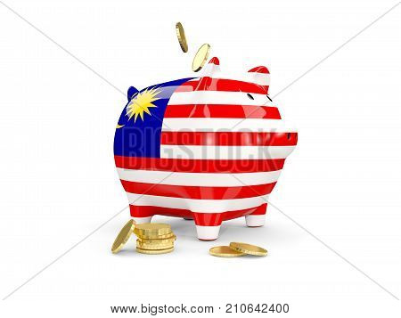 Fat Piggy Bank With Fag Of Malaysia