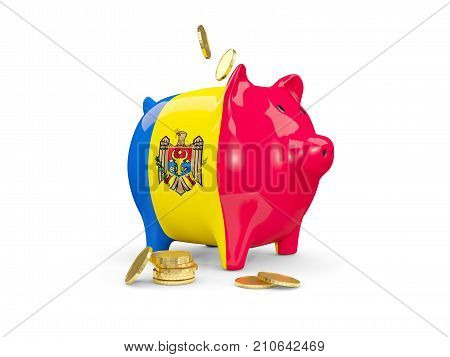 Fat Piggy Bank With Fag Of Moldova
