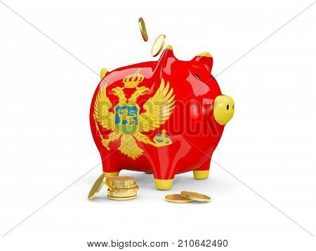 Fat Piggy Bank With Fag Of Montenegro