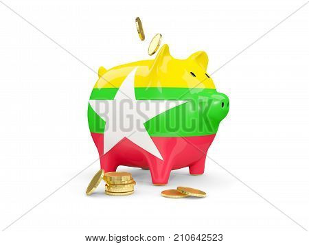 Fat Piggy Bank With Fag Of Myanmar