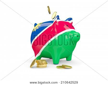 Fat Piggy Bank With Fag Of Namibia