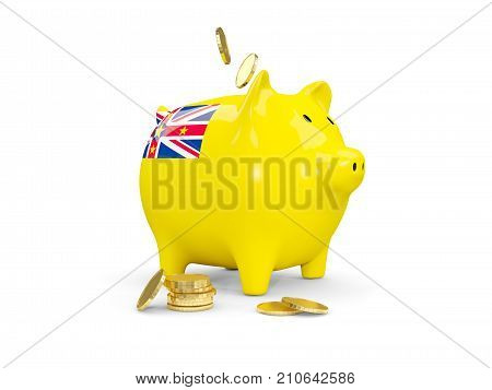 Fat Piggy Bank With Fag Of Niue